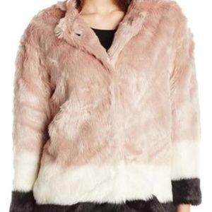 Scotch & Soda Maison Colourblocked Fur Coat Jacket